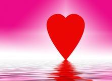 Coração que reflete na água Fotografia de Stock