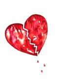 Coração quebrado com a aguarela das gotas do sangue Foto de Stock Royalty Free