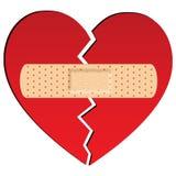 Coração quebrado com emplastro fotografia de stock royalty free
