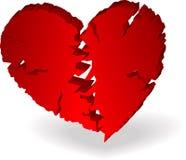 Coração quebrado 3D Ilustração do Vetor