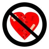 Coração quebrado da proibição Pare a ruptura do coração, nenhum divórcio, coração quebrado ilustração stock