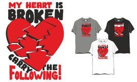 Coração quebrado do t-shirt ilustração royalty free