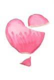 Coração quebrado do Valentim da massa de sal no fundo branco Foto de Stock Royalty Free