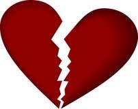 Coração quebrado no branco Fotografia de Stock