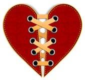 Coração quebrado vermelho das calças de brim com laços Imagem de Stock Royalty Free