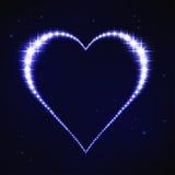 Coração regular azul estilizado no estilo da constelação da estrela Fotografia de Stock Royalty Free