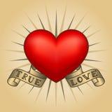 Coração retro da tatuagem com fitas do ouro Cartão feliz do dia do `s do Valentim Fotografia de Stock