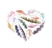 Coração retro - penas de pássaro Aquarela do vintage Fotografia de Stock Royalty Free
