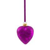 Coração roxo do Natal isolado no ano novo do fundo branco Fotos de Stock