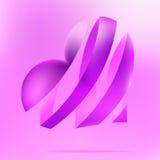 Coração roxo em um fundo claro. + EPS8 Fotografia de Stock