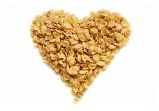 Coração saboroso dos cornflakes fotos de stock