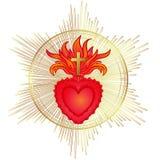 Coração sagrado de Jesus com raios Ilustração do vetor no vermelho e ilustração do vetor