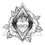 Coração sagrado de Jesus Ilustração do vetor isolada no ove branco ilustração do vetor