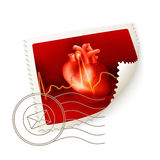 Coração, selo de porte postal ilustração stock