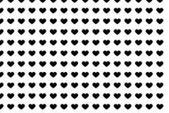 Coração sem emenda abstrato do preto do teste padrão no projeto branco do fundo Imagem de Stock