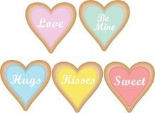 Coração Sugar Cookies do vetor nas cores pastel com provérbios do texto do Valentim foto de stock royalty free