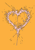 Coração sujo feito de splatters da pintura Fotografia de Stock