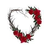 Coração tecido dos galhos Frame floral decorativo Cartão bonito do Valentim com rosas vermelhas ilustração royalty free