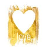 Coração Textured de brilho Art Illustration da pintura do ouro Vetor IL Fotos de Stock