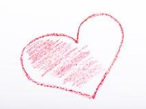 Coração tirado lápis com cor vermelha Imagens de Stock Royalty Free