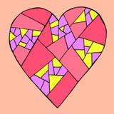Coração tirado mão em um fundo cor-de-rosa, ilustração romântica do vetor do mosaico colorido para o dia de Valentim ilustração royalty free