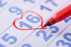 Coração tirado na data Foto de Stock