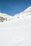 Coração tirado na neve Foto de Stock Royalty Free