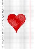 Coração, tirando na folha Fotografia de Stock Royalty Free