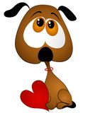 Coração triste do Valentim da terra arrendada do filhote de cachorro dos desenhos animados foto de stock royalty free