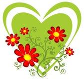 Coração verde com flores vermelhas ilustração stock