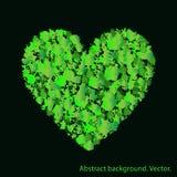 Coração verde com texturas abstratas Conceito do amor e da ecologia ilustração stock