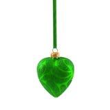 Coração verde do Natal isolado no ano novo do fundo branco Fotografia de Stock