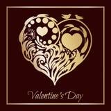 Coração verde estilizado da ilustração do vetor Coração floral A silhueta bonita do coração do laço floresce, gavinhas e folhas I Imagem de Stock