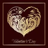 Coração verde estilizado da ilustração do vetor Coração floral A silhueta bonita do coração do laço floresce, gavinhas e folhas I Foto de Stock