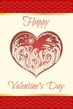 Coração verde estilizado da ilustração do vetor Coração floral A silhueta bonita do coração do laço floresce, gavinhas e folhas I Fotos de Stock