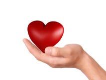 Coração vermelho à disposição Conceito do amor Fotos de Stock