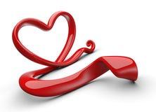 Coração vermelho abstrato do amor Foto de Stock Royalty Free