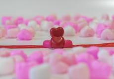 Coração vermelho chocolates dados forma Fotografia de Stock