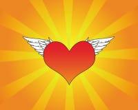 Coração vermelho com asas brancas Imagens de Stock