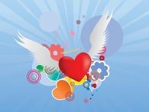 Coração vermelho com asas do anjo Foto de Stock Royalty Free