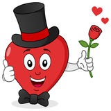 Coração vermelho com chapéu alto, laço & Rosa Fotografia de Stock Royalty Free