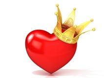 Coração vermelho com coroa dourada Imagem de Stock