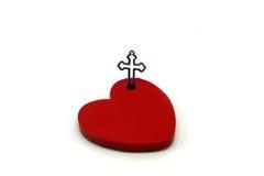 Coração vermelho com cruz Foto de Stock Royalty Free