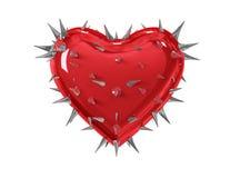 Coração vermelho com espinhos imagem de stock