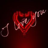 Coração vermelho com EU TE AMO ilustração do vetor
