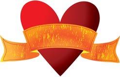 Coração vermelho com fita Imagem de Stock Royalty Free