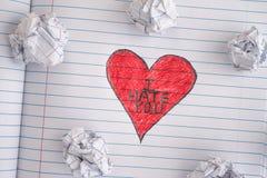 Coração vermelho com frase eu odeio-o Fotografia de Stock Royalty Free