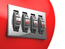 Coração vermelho com o cadeado brilhante do código do metal Ilustração do Vetor