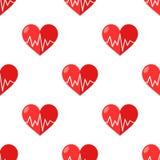 Coração vermelho com o eletrocardiograma sem emenda ilustração do vetor