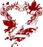 Coração vermelho com ornamento e o Cupid filigree Imagem de Stock Royalty Free